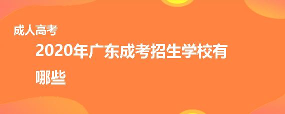 2020年广东成人高考招生学校有哪些