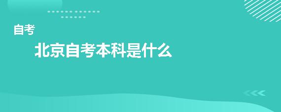 北京自考本科是什么